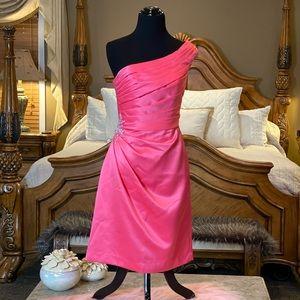 Mori Lee Salmon Pink One Shoulder Dress Size 8